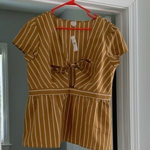 New with tags Loft tie front stripes top Size L.
